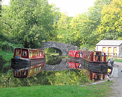 Red boats on Brecon & Monmouth Canal